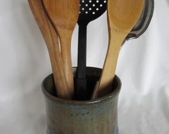 Large Stoneware Vase / Utensil Crock
