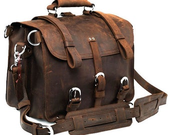 Handmade Distressed Buffalo Leather Briefcase / Messenger Bag / Backpack / Satchel / Laptop Case - 3S