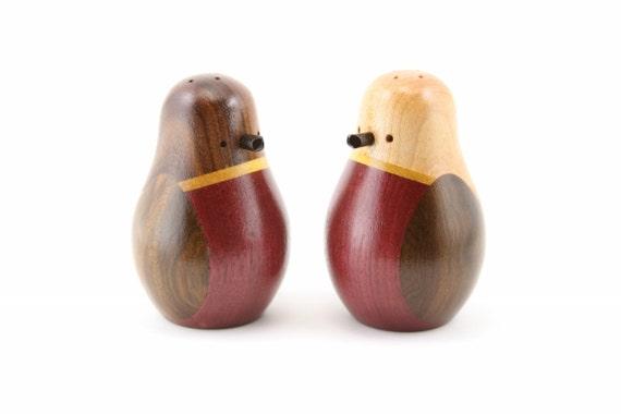 Bird Salt And Pepper Shaker Set Wood Wooden Shakers