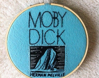 Moby Dick book cover embroidery hoop art/Herman Melville embroidery/literature stitching