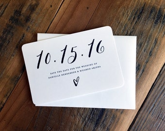 Heart Save the Date, Save-our-Date, Save the Date, Calligraphy Style Font, Simple, Modern