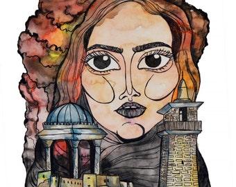 Woman in Refuge - A3 Original Print