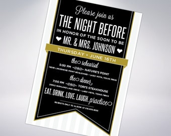Rehearsal Dinner Invitation; custom design with optional postcard- multiple designs available
