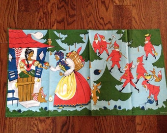 Mid Century Modern Tea Towel Kitchen Linens Decorative Fairy Tale Snow White by Lehrer