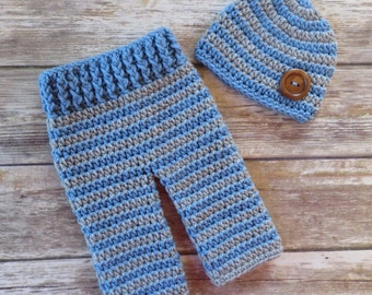 Crocheted Baby Boy Pants and Hat with Wooden Button Set ~ Bluebell & Silver Gray ~ Gift or Photo Prop ~ Newborn (0-2 Month) - MADE TO ORDER