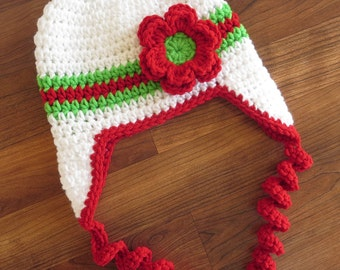 Crocheted Baby Girl Christmas Ear Flap Hat with Curly Ties and Flower ~ White, Bright Red & Spring Green ~ Baby Shower Gift ~ MADE TO ORDER