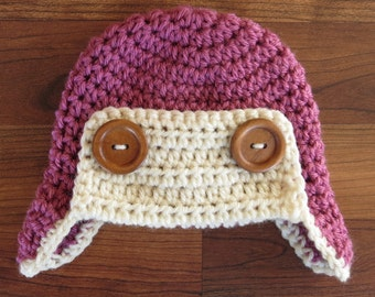 Crocheted Baby Aviator Earflap Hat with Wooden Buttons, Crocheted Rose Pink & Cream/Ecru Aviator Earflap Hat, Newborn to 5T - MADE TO ORDER