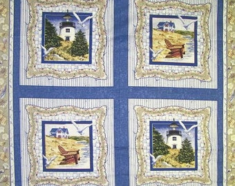 By the Sea Pillow Panel Seagulls Lighthouse BTY #284