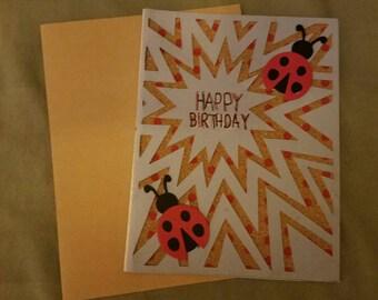 Birthday Greeting Card w/ Ladybugs