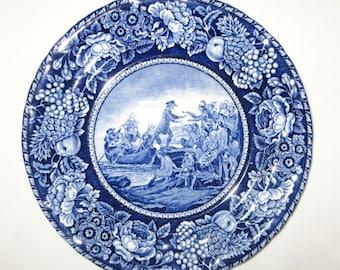 Vintage Royal Fenton Genuine Fenton Ware Staffordshire England Landing of Roger Williams 1636 Blue Plate