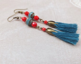 Tassel Earrings, Boho Earrings,Long Tassel earrings, Turquoise and red earrings, Colorful Earrings Tassel