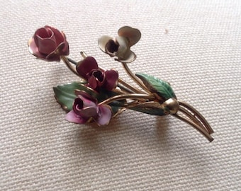 Handpainted Vintage Brooch -flowers that dont die