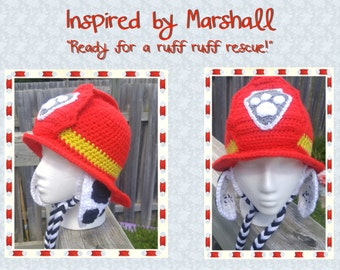 Paw Patrol - Marshall Inspired Crochet Earflap Hat