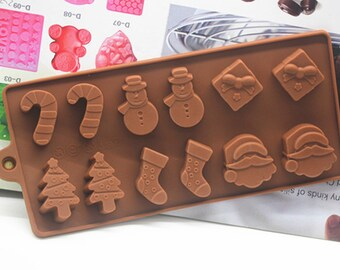 Flexible Silicone Christmas Cake Candy Mould For Fimo Resin Crafts
