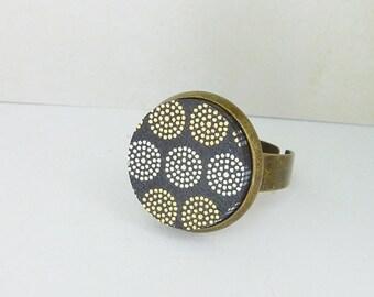Ring mosaic wood cabochon black bronze