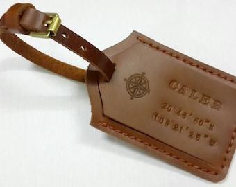 Leather Luggage Tag Monogram Luggage Tag Personalized Bag