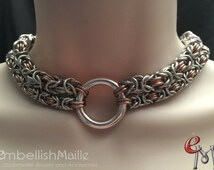 Discrete BDSM Submissive collar with large front O Ring. BDSM Day Collar, 2 Strand Byzantine Chainmaille Collar, Slave Lifestyle Collar.