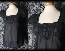 Goth Black Cotton Bib Detail MISTRESS Large Button Blouse 8 10 Victorian Vintage