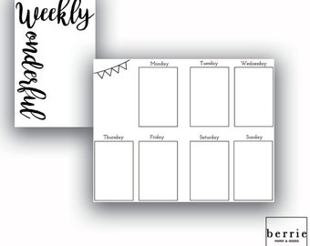 Traveler's Notebook Pocket Week on Two Boxes Printable Pages