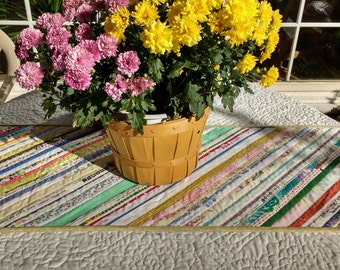 Quilted Table Runner, Quilted Table Topper, Multi-colored Mat, Unique Selvage Mat, 14 x 40 inches, a great gift!