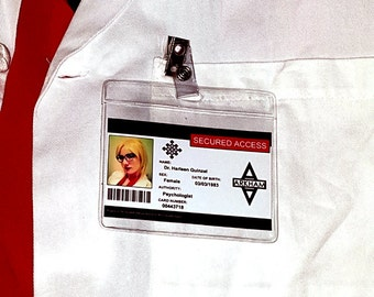 YOUR PIC Arkham Asylum badge CUSTOM security medical prison mental ward doctor Harleen Quinzel Harley Quinn cosplay card