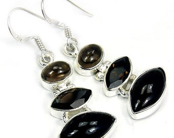 Smoky Quartz & Sterling Silver Dangle Earrings R371