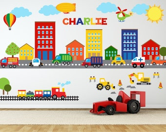 Construction Wall Decal - Truck Wall Decal - Name Wall Decal - Transportation Wall Decal - Construction Nursery