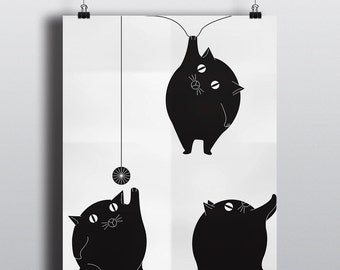 Fat Cats Playing Around, ball of yarn, original art, unique poster on satin 80lb coverstock, 16x20 print, fun, illustration, black white