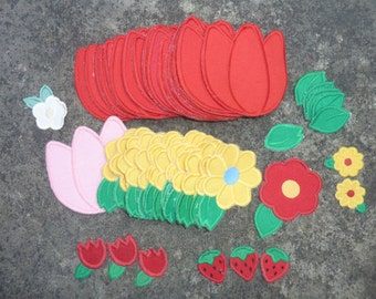 61 Vintage Embroidered Appliques Floral Sewing