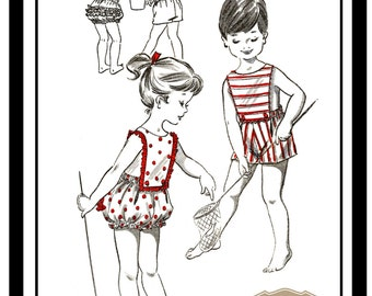 1950s Toddlers Sun Suit Romper - PDF Childs Pattern - Paper Pattern
