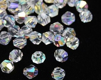 Faceted Clear AB Crystal Glass Bicones - 4MM