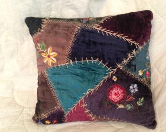Handmade Velvet Embellished Quilted Decorative Pillow 12x12