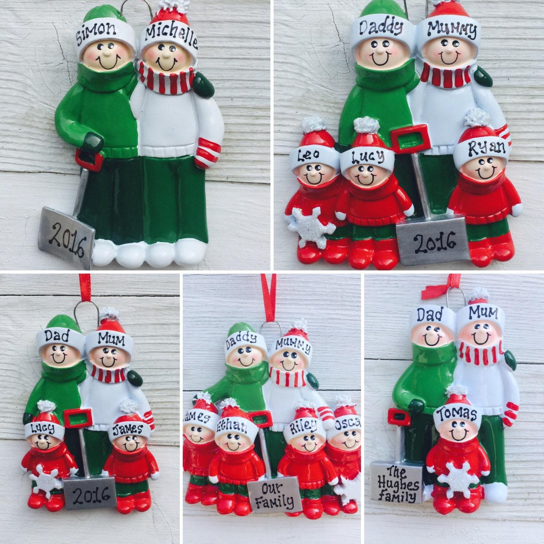 Personalised Family Christmas/Xmas Tree Decoration Snow