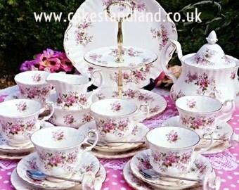 Royal Albert Lavender rose complete tea set for six.