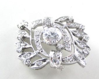 14kt White Gold Stunning Diamond Pink Brooch