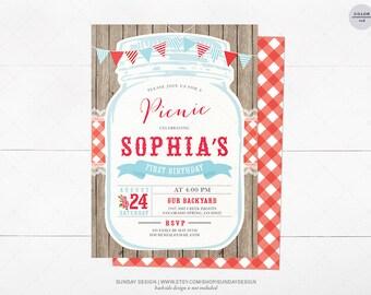 Picnic Birthday Party Invitation Card - DIY Printable Digital File - Vintage Typography - Red Gingham BBQ