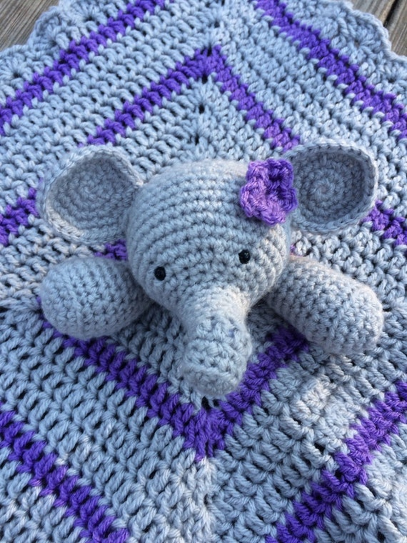 Crochet Elephant Lovey lilac and grey lovey Crocheted lovey