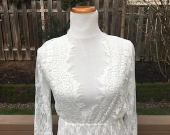 White Lace Wedding Dress // Medium // 6 // 8 // Large // 90's