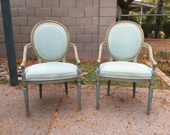 Pair of vintage mid century blue Louis XVI fauteuil styled armchairs by Karges