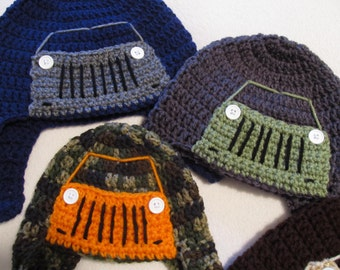 Crochet Jeep/Truck Hat  - Baby to Adult Sizes in Tough Outdoor Colors - Made to Order
