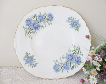Royal Vale vintage 1970's cake plate, Cornflower Blue, Blue Floral cake plate, Blue Cornflowers, Royal Vale plate, Blue cake plate