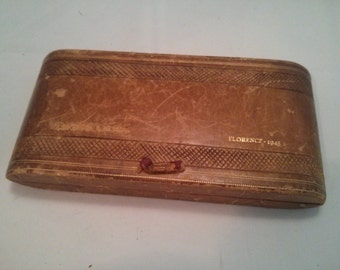 Vintage Collection - Brown Leather Vanity Case Made in Florence 1945