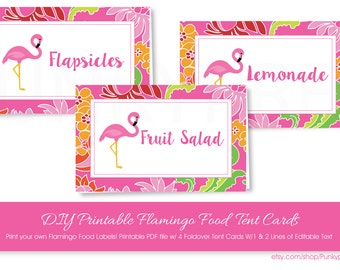 Pink Flamingo Food Tent Cards with Editable Text, Pink Flamingo Food Tent Cards, Printable Pink Flamingo Food Tent Cards, Flamingo Party