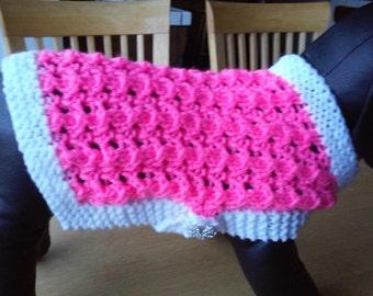 Small Pink Dog Coat / Knit Lacy Pink Dog Dress / Small Dog Attire /Small Dog Sweater / Dog Jacket / Small Dog Apparel /Small Dog Clothing