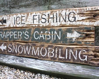 Ice Fishing Trappers Cabin Snowmobiling Rustic Distressed Directional Wood Log Cabin Sign Set 36""