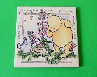 "5 3/4"" x 5 3/4"" Winnie the Pooh Disney Ceramic Wall Picture Tile Honey Garden Foxglove Flowers"