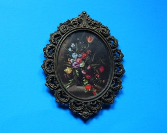 "4"" x 5 1/2"" Action Metal Baroque Ornate Flower Picture Frame Italy"