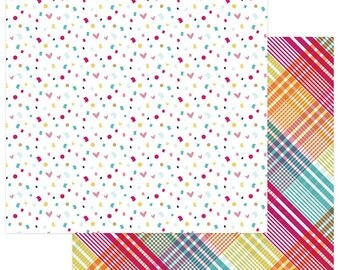 2 Sheets of Photo Play FUN WITH FRIENDS 12x12 Scrapbook Paper - Confetti