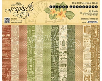 Graphic 45 SAFARI ADVENTURE Double-Sided Patterns & Solids 6x6 Scrapbook Paper Pad