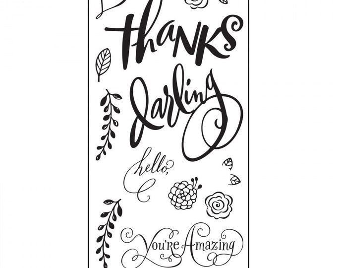 New! Sizzix Clear Stamps - Hello Darling by Brenda Walton 661091